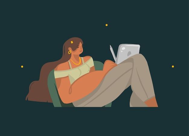 Ilustracja z młodą kobietą na krześle, trzymając w rękach komputer typu tablet