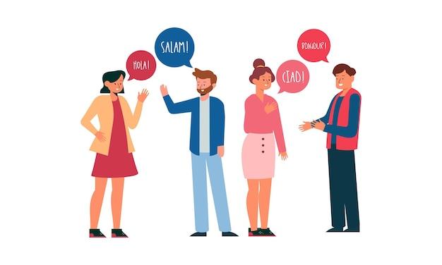 Ilustracja z młodymi ludźmi rozmawiającymi