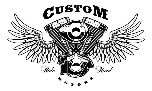 Ilustracja z monochromatycznym silnikiem motocykla ze skrzydłami. zabytkowy styl. tekst znajduje się na osobnej warstwie. (wersja na białym tle)