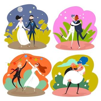 Ilustracja z motywem ślubu para kolekcji