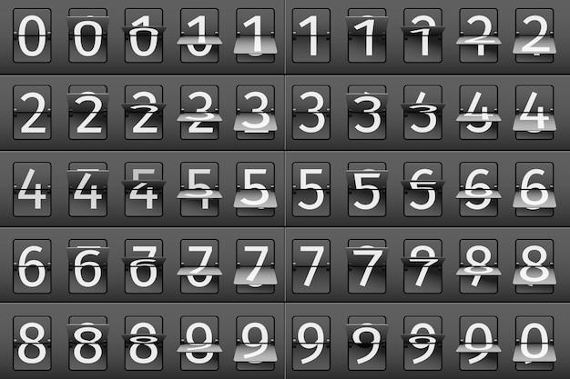 Ilustracja z numerami tabeli przylotów i odlotów na lotnisku.