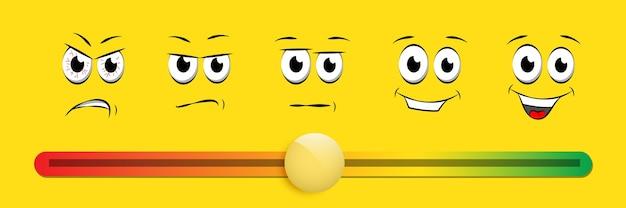Ilustracja z oceną suwaka uśmiechu, szczęśliwe, smutne, wściekłe twarze, system rankingowy.