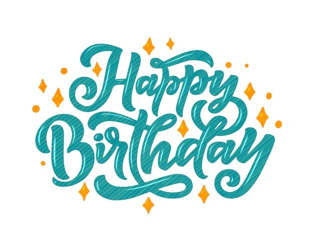 Ilustracja z okazji urodzin napis do dekoracji.