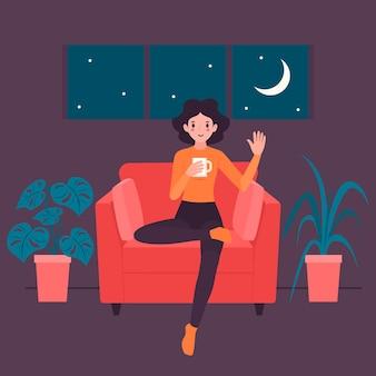 Ilustracja z osobą relaksuje w domu pojęcie