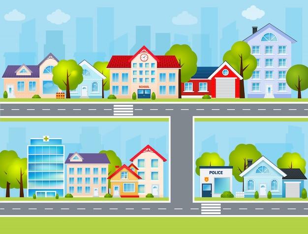 Ilustracja z płaskim miastem