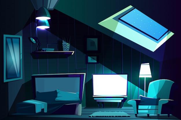 Ilustracja z pokoju na poddaszu w nocy. kreskówka poddasze z oknem, fotel z poduszką