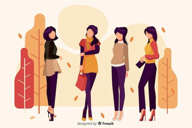 Ilustracja z postaciami noszącymi ubrania sezonowe