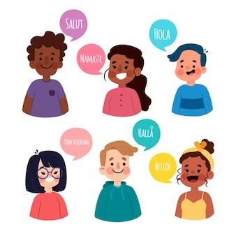 Ilustracja z postaciami rozmawiającymi w różnych językach
