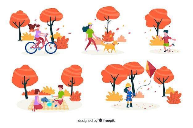 Ilustracja z postaciami w parku wykonujących czynności