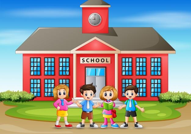 Ilustracja z powrotem do dzieci w wieku szkolnym