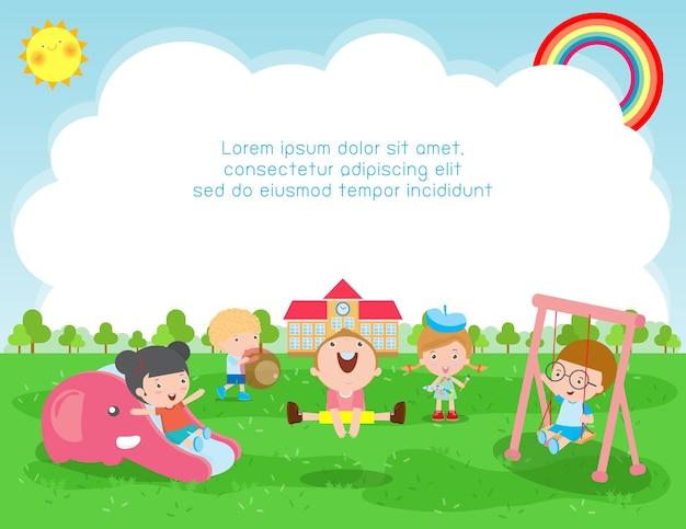 Ilustracja z powrotem do koncepcji edukacji szkolnej, dzieci bawiące się na zewnątrz