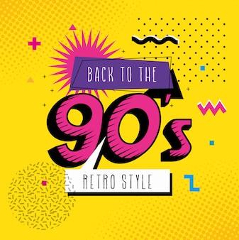 Ilustracja z powrotem do lat 90. pop-artu w stylu retro