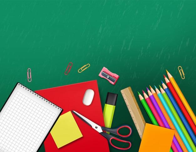 Ilustracja z powrotem do przyborów szkolnych