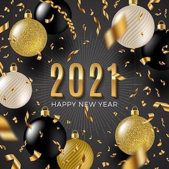 Ilustracja z pozdrowieniami nowego roku - konfetti złotej folii, białe i złote błyszczące bombki świąteczne.