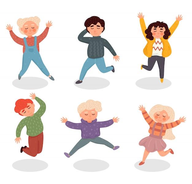 Ilustracja z prostymi płaskimi postaciami - szczęśliwe uśmiechnięte dzieci bawiące się razem i skaczące