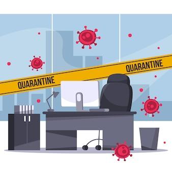 Ilustracja z pustym biurem