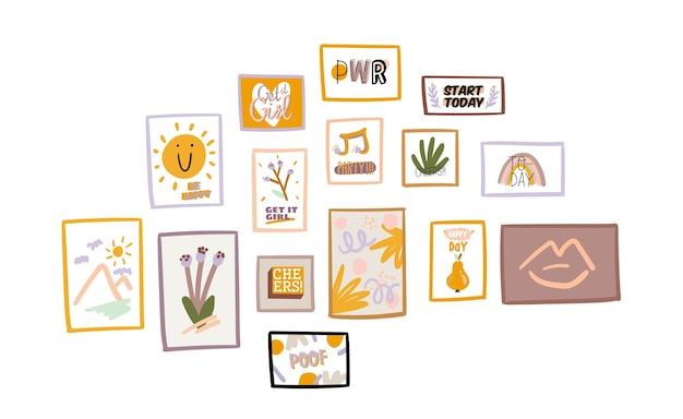 Ilustracja z ramkami do dekoracji ścian