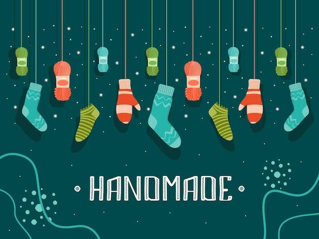 Ilustracja z ręcznie robionymi ciepłymi ubraniami