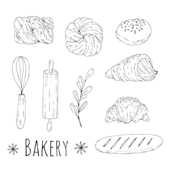 Ilustracja z ręcznie rysowane elementy piekarni doodle. wygląd menu, papier do pakowania sklepu.