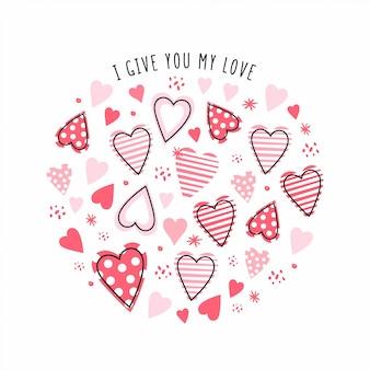 Ilustracja z ręcznie rysowane serca. creative streszczenie tekstura dla dzieci do tkanin, opakowań, tekstyliów