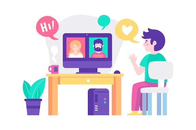 Ilustracja z rozmowami wideo ze znajomymi