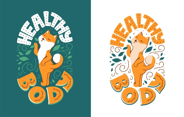 Ilustracja z samic psa akita z napisem fraza - zdrowe ciało.