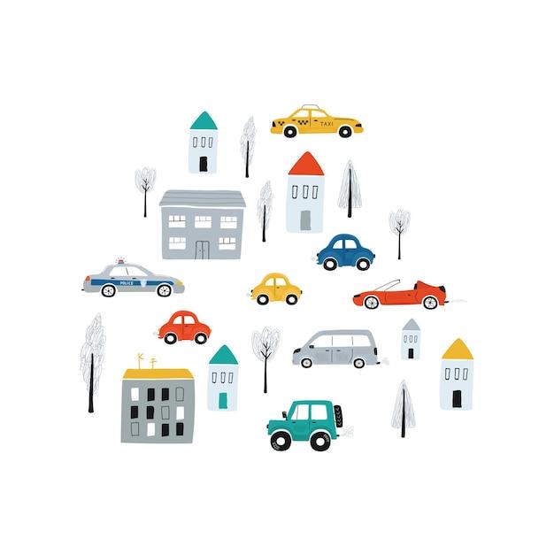 Ilustracja z samochodami i domami. śliczny dziecięcy nadruk koncepcyjny z samochodem do projektowania pokoju dziecięcego, tekstyliów, odzieży. wektor