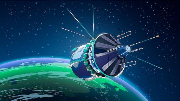 Ilustracja z satelitą statku kosmicznego w przestrzeni kosmicznej z ziemią. program historii kosmosu, ludzka eksploracja bliskiej przestrzeni.