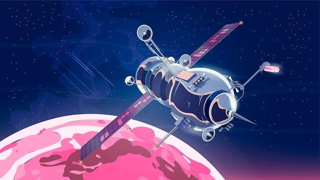 Ilustracja z satelitą statku kosmicznego w przestrzeni z księżycem. program historii kosmosu, ludzka eksploracja bliskiej przestrzeni.