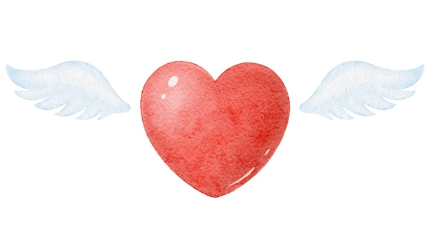 Ilustracja z sercem i skrzydłami, akwarela ilustracja na walentynki
