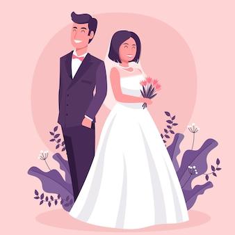 Ilustracja z ślubną parą