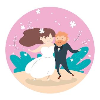 Ilustracja z ślubu pary pojęciem