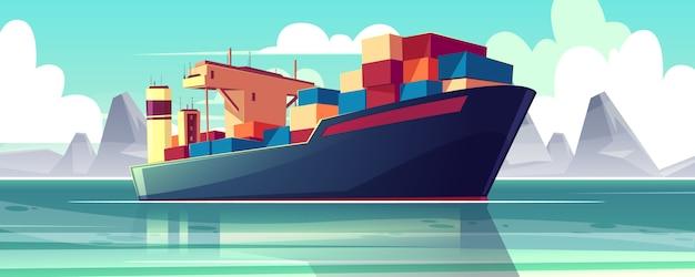 Ilustracja z statkiem dry-cargo na morzu, ocean. wysyłka handlowa, dostawa towarów.