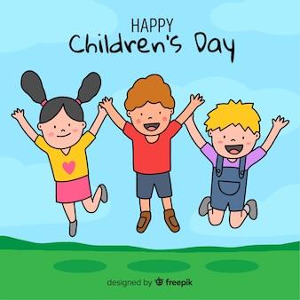 Ilustracja z szczęśliwym dziecko dnia życzeniem