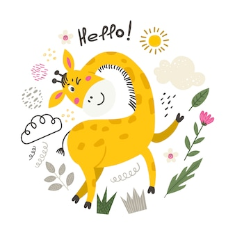 Ilustracja z uroczą żyrafą.