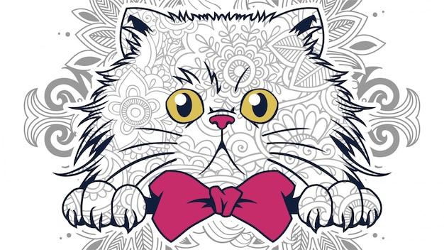 Ilustracja z zabawnych kreskówek głowy tłuszczu kota w zentangle stylizowane