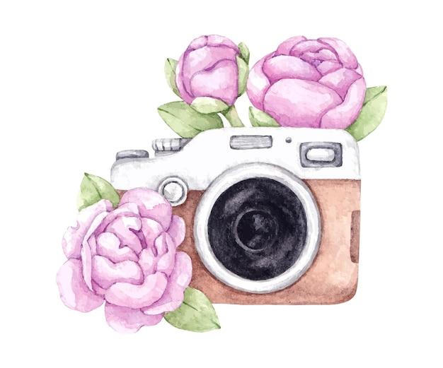 Ilustracja z zabytkowym aparatem i peoniami