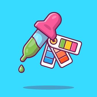 Ilustracja z zakraplaczem i paletą kolorów. wyposażenie narzędzi roboczych.