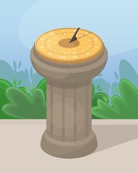 Ilustracja z zegarem słonecznym. starożytny sposób określania czasu.