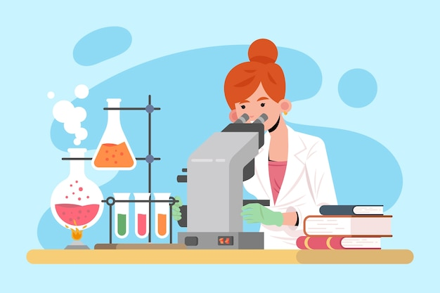 Ilustracja z żeńskim naukowa projektem