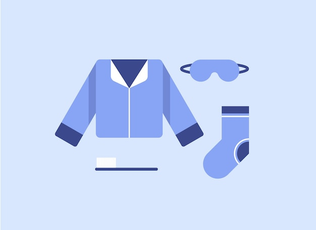 Ilustracja z zestawem piżamowych ubrań lub bielizny nocnej w płaskiej konstrukcji