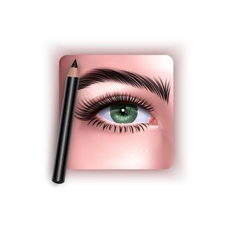 Ilustracja z zielonym kobiecym okiem i ołówkiem do makijażu brwi