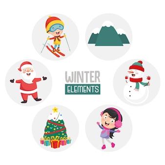 Ilustracja z zimowych elementów