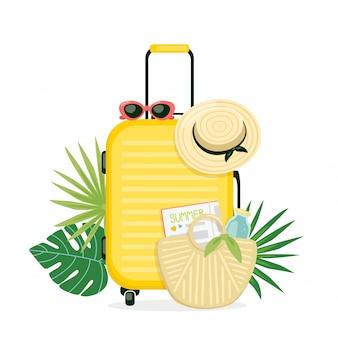 Ilustracja z żółtą walizką, czapką plażową i torebką. bagaż na wakacje. koncepcja letnich podróży