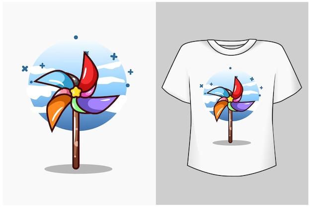 Ilustracja zabawka wiatrak