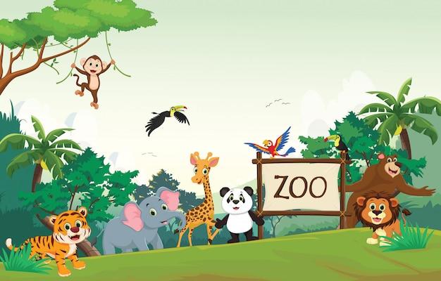 Ilustracja zabawna kreskówka zoo zwierząt