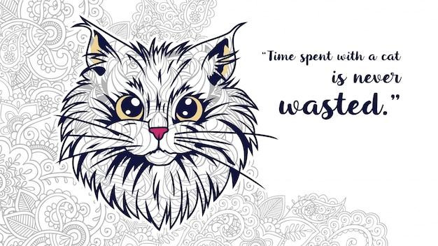 Ilustracja zabawny kot kreskówka doodle z cytatów w zentangle stylizowane