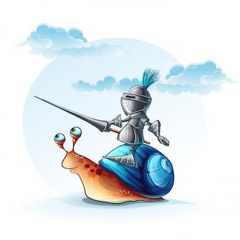 Ilustracja zabawny rycerz na ślimaku