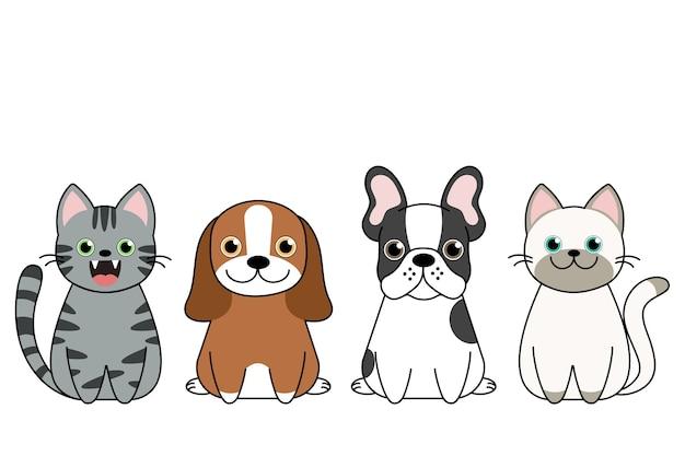 Ilustracja zabawnych kreskówek psów i uroczych kotów najlepsi przyjaciele.