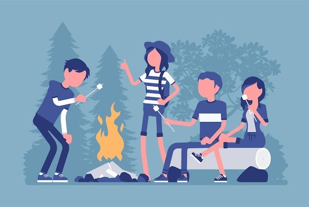 Ilustracja zabawy na świeżym powietrzu przy ognisku